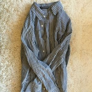 Brandy Melville blue and white striped button down